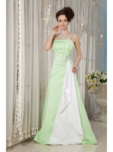 Yellow Green Straps Satin Beading 2013 Dama Dresses