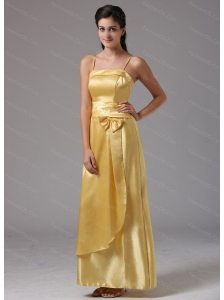 Yellow Spagetti Straps Column Long Dama Dress On Sale