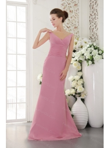 2013 Custom Made V-neck Ruch Pink Quinceanera Dama Dress