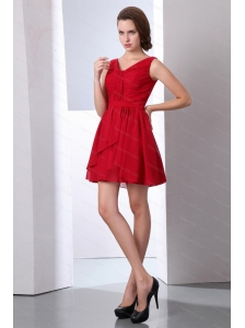 Affordable Ruched Empire V-neck Mini-length Dama Dress