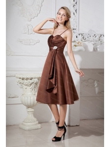 Beading Spaghetti Straps Tea-length Satin and Organza Dama Dress