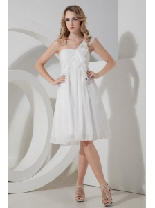Elegant One Shoulder White Knee-length Dama Dress 2013