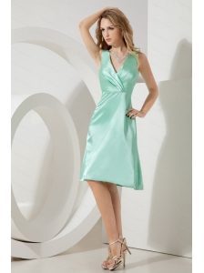fashionable V-neck Apple Green Taffeta Dama Dress for juniors