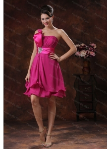 Fuchsia One Shoulder 2013 Appliques Short Dama Dress