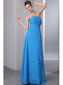Hand Made Flower Floor-length Chiffon Empire Blue Dama Dress