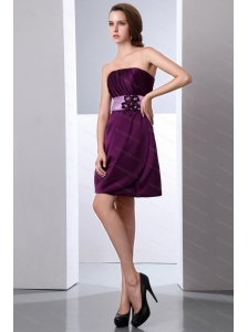 Hand Made Flower Mini-length A-line Satin Dama Dress
