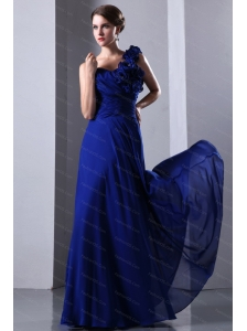 Hand Made Flowers One Shoulder Blue Floor-length Dama Dress