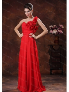 Hand Made Flowers One Shoulder Red Dama Dress