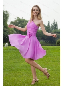 One Shoulder Chiffon Ruch Lavender Dama Dress 2013