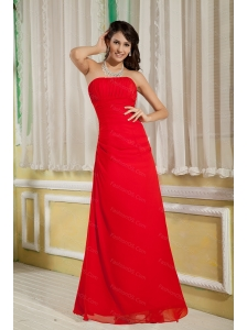 Red Column Strapless Chiffon Ruch Dama Dress On Sale