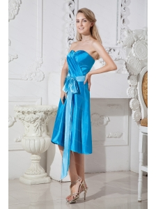 Ruch and Bows Sweetheart Empire Blue Taffeta Dama Dress