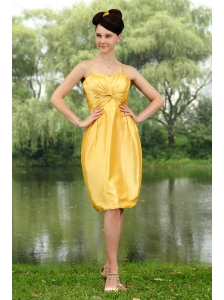 Ruch Taffeta Column Straps Yellow Dama Dress