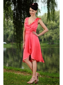 Ruch V-neck Coral Red Empire Dama Dress for 2013