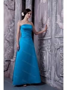Satin A-line Strapless Sky Blue Cheap Dama Dress