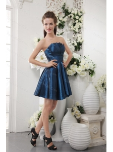 Short Navy Blue Strapless Taffeta Pleat Dama Dresses