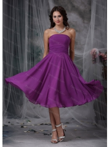 Short Purple Strapless Chiffon Dama Dress With Ruch