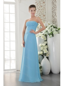 Strapless Light Blue Chiffon Dama Dress With Ruch