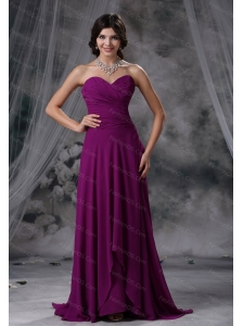 Sweetheart Purple Chiffon 2013 Dama Dress With Brush Train