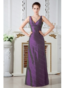 V-neck  Column Floor-length Taffeta Dama Dress