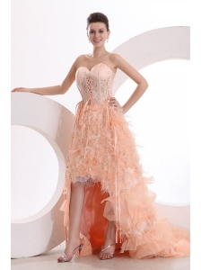 A-line Sweetheart Watermelon High-low Ruffles Organza Prom Dress with Lace Up