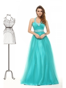 Elegant Tuquoise Beading A-line Halter Lace Up Tulle Prom Dress
