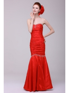 Mermaid Sweetheart Floor-length Beading Red Prom Dress with Lace Up