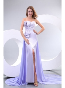 Popular Sweetheart Court Train Elastic Woven Satin Prom Dresses with Beading