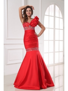 Sexy Mermaid One Shoulder Floor-length Beading Red Taffeta Prom Dress