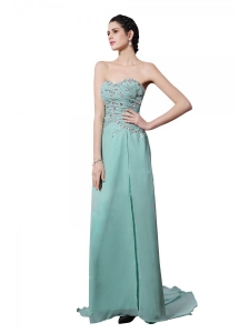 Apple Green Sweetheart Appliques Brush Train  Prom Dress