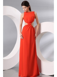 Bateau Coral Red Chiffon Ruche Long Prom Dress with Cut Out