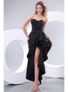Black Column Sweetheart Ruching High Slit Prom Dress