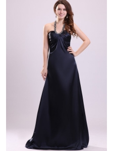 Black Halter Top Neck Sweet Train Beaded Decorate Prom Dress for Spring
