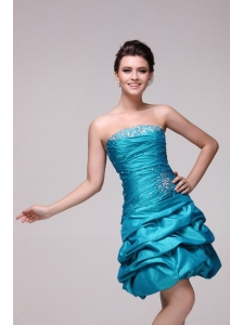 Blue A-line Strapless Knee-length Beading Taffeta Prom Dress with Lace Up