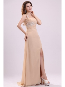 Champagne High Slit One Shoulder Prom Dress with Appliques and Beading