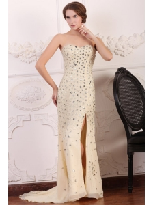 Champagne Sweetheart Column Court Train Rhinestone and Silt Prom Dress