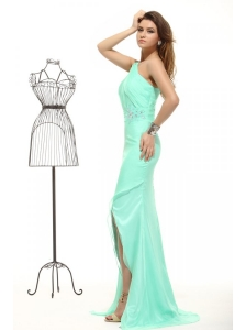 Column Apple Green High Slit One Shoulder Chiffon Beading Prom Dress