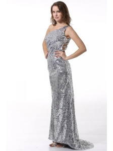 Column One Shoulder Silver Brush Train Seuqin Prom Dress