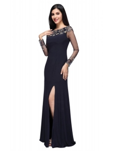 Column Scoop Navy Blue Long Sleeves High Slit Prom Dress