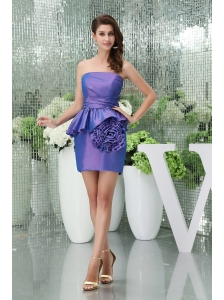 Column Strapless Purple Mini-length Hand Made Flowers Prom Dress