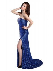 Column Sweetheart Royal Blue Sequins High Slit Brush Train Prom Dress