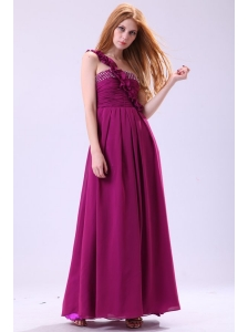 Empire One Shoulder Ankle-length Chiffon Purple Beading Prom Dress