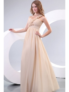 Empire One Shoulder Hand Made Flowers Chiffon Full Length Prom Dress