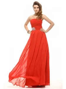 Empire Orange Red Strapless Beading Ruching Prom Dress