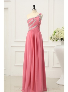 Empire Watermelon One Shoulder Beaded Decorate Full Length Prom Dress