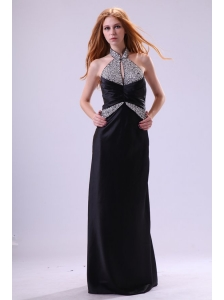 Fashionable Black Column Halter Top Neck Prom Dress with Beading