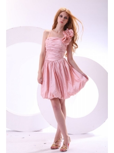 Flowers Straps Baby Pink Short Prom Dress with Knee-length