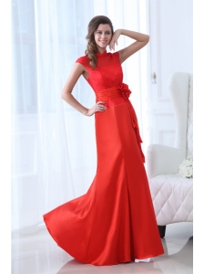 Modern Column Red Floor-length Lace Prom Dress with High Neck