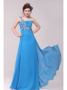 One Shoulder Empire Full Length Teal Prom Dress with Appliques