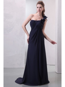 One Shoulder Hand Made Flowers Chiffon Navy Blue Prom Dress