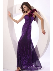 One Shoulder Purple Column Sequins Prom Dress with Hand Made Flowers